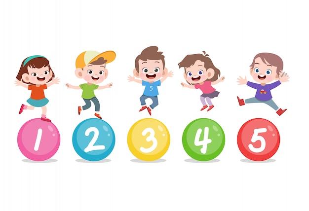 Enfants Avec Numéro Mignon 123 Vecteur Premium