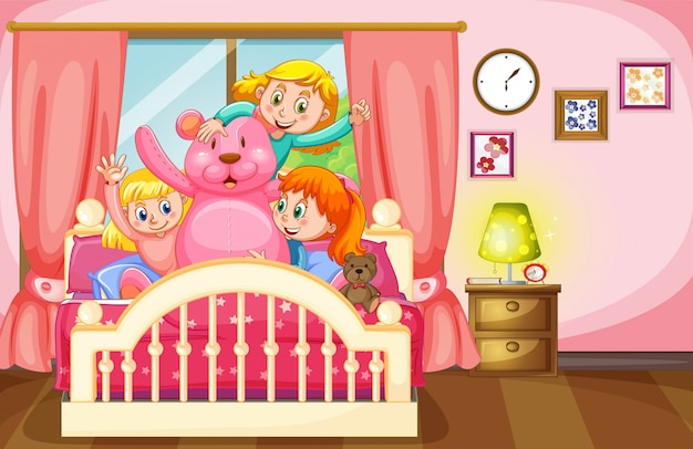 Enfants et ours en peluche dans la chambre Vecteur Premium