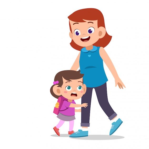 Enfants Avec Parent Au Premier Jour De L'école Vecteur Premium