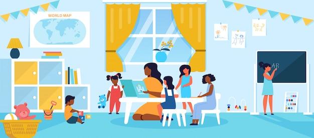 Enfants Passant Du Temps à La Maternelle Ou à La Maternelle Ayant Une Leçon Avec Un Jeune Enseignant Vecteur Premium