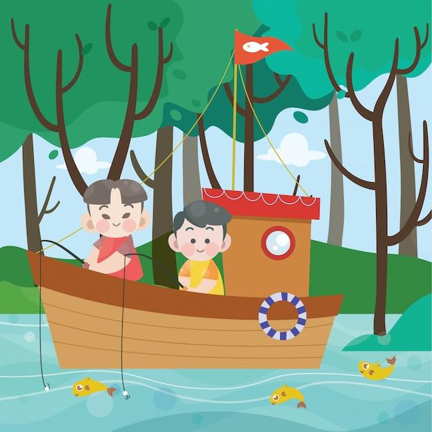 Enfants pêchant dans l'illustration vectorielle de bateau Vecteur Premium