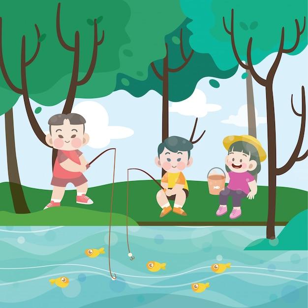 Enfants pêchant ensemble illustration vectorielle Vecteur Premium