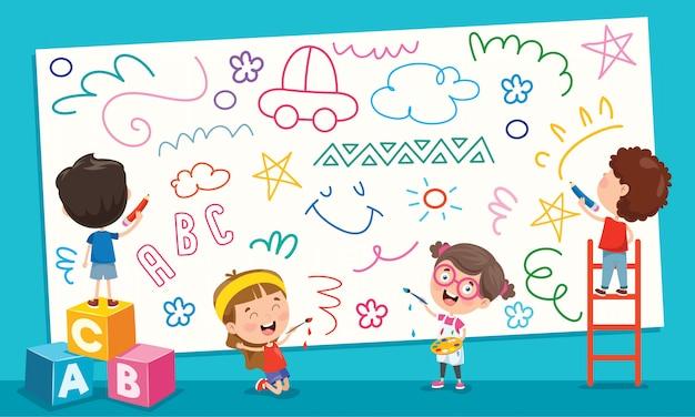 Enfants Peinture Bannière Vecteur Premium