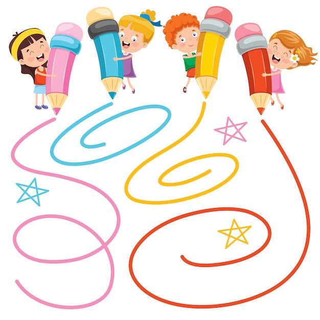 Enfants, Peinture, Grand, Crayons Vecteur Premium