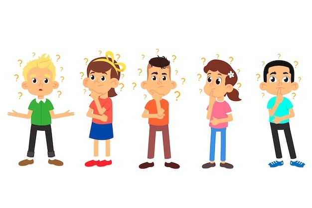 Les Enfants Pensent. Garçons Et Filles Mignons Posant Des Questions. Vecteur Premium