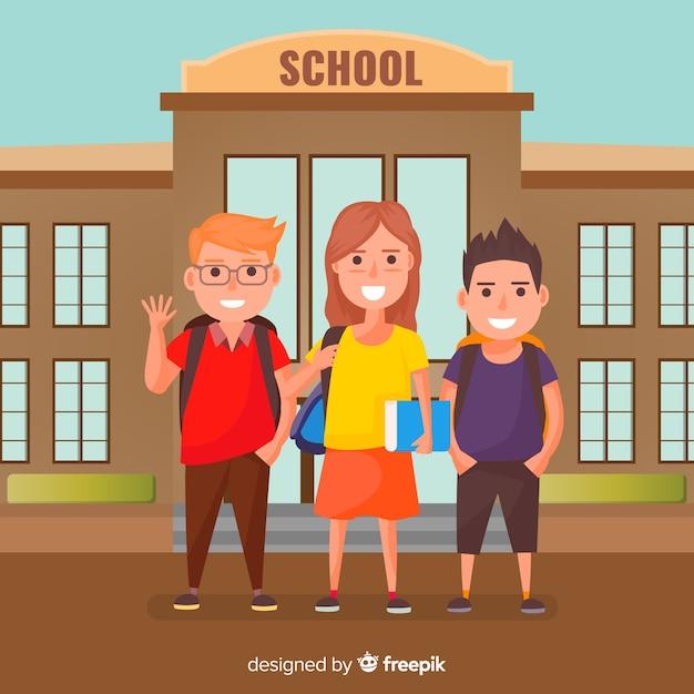 Enfants plats retour au fond de l'école Vecteur gratuit