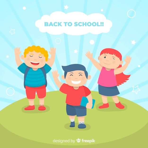 Les enfants plats retournent à l'école Vecteur gratuit