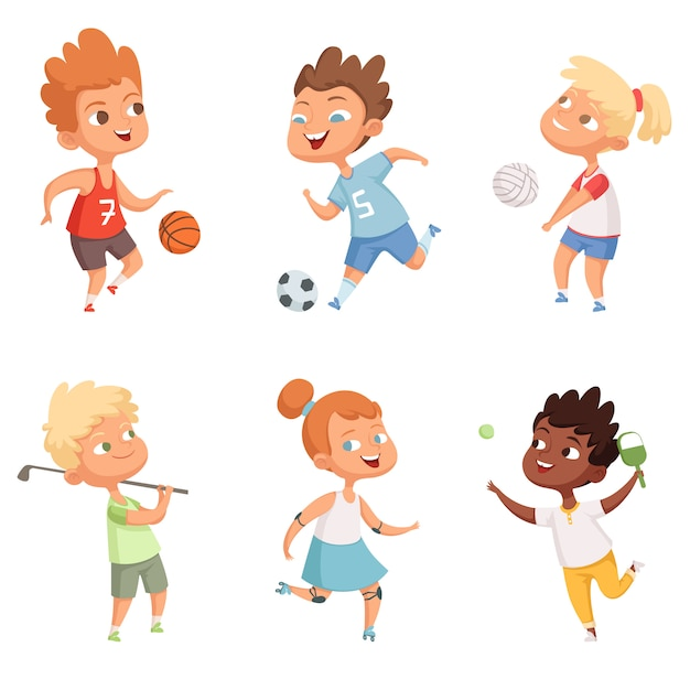 Enfants en plein air dans l'activité de sports d'action Vecteur Premium