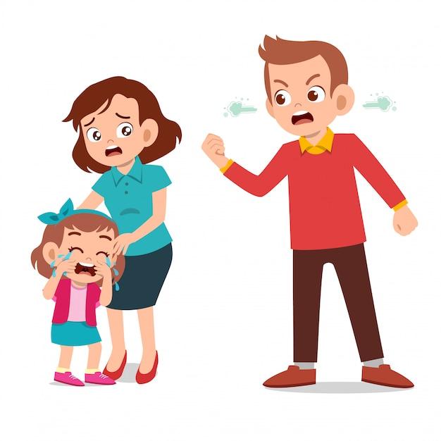 Les Enfants Pleurent Avec Le Parent Qui Se Bat Contre L'ague Vecteur Premium