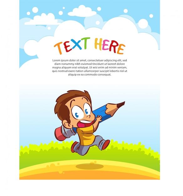 Les enfants portent de grands crayons. modèle de texte Vecteur Premium