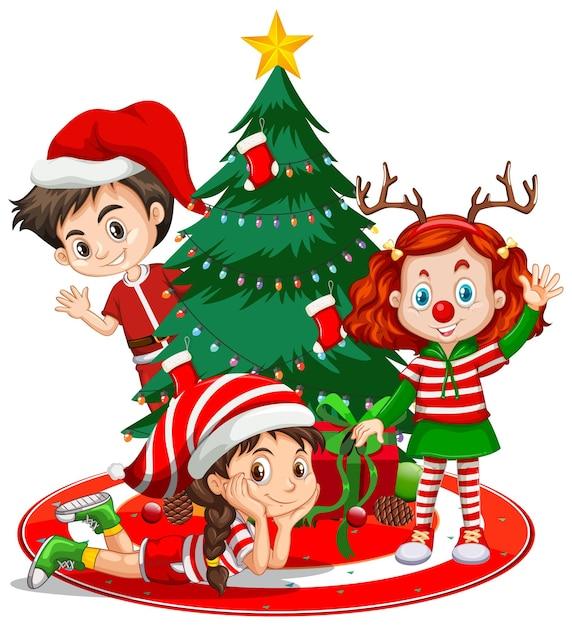 Les Enfants Portent Le Personnage De Dessin Animé De Costume De Noël Avec Arbre De Noël Sur Fond Blanc Vecteur Premium