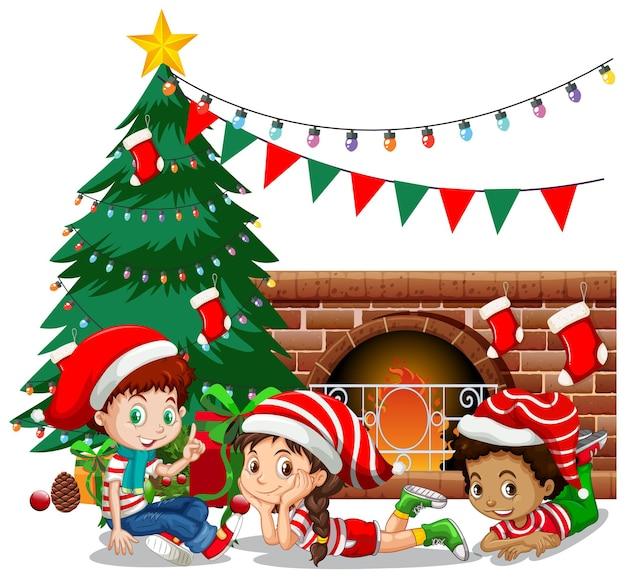 Les Enfants Portent Le Personnage De Dessin Animé De Costume De Noël Sur Fond Blanc Vecteur Premium