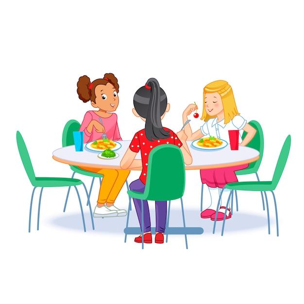 Enfants prenant leur petit déjeuner ensemble Vecteur Premium