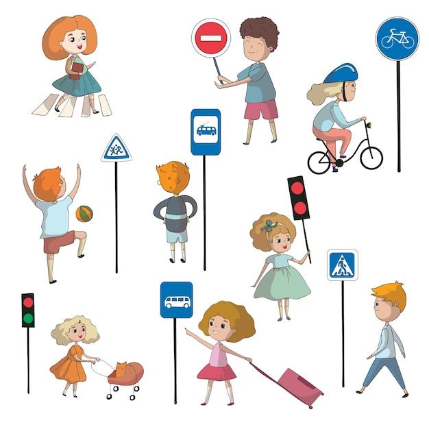 Enfants à Proximité De Divers Panneaux De Signalisation Et Feux De Circulation. Illustration Sur Fond Blanc. Vecteur Premium