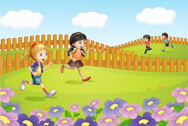 Enfants Qui Courent Sur Un Champ Vecteur gratuit