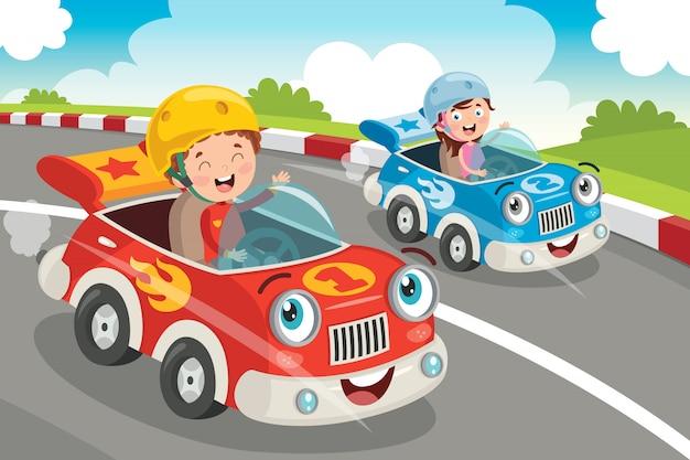 Enfants Racing Avec Des Voitures Drôles Vecteur Premium