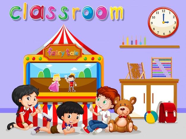 Enfants regardant des marionnettes en classe Vecteur gratuit
