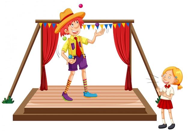 Enfants regardant un spectacle de jonglerie Vecteur Premium
