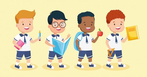 Enfants en rentrée scolaire Vecteur gratuit