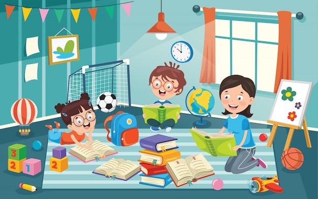 Enfants s'amusant dans une chambre Vecteur Premium