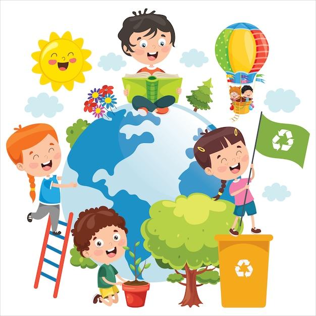 Enfants s'amusant avec la terre Vecteur Premium