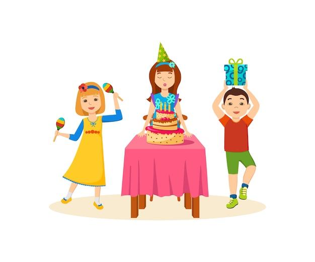 Les Enfants S'amusent Lors D'une Soirée Festive à La Fête D'anniversaire. Vecteur Premium