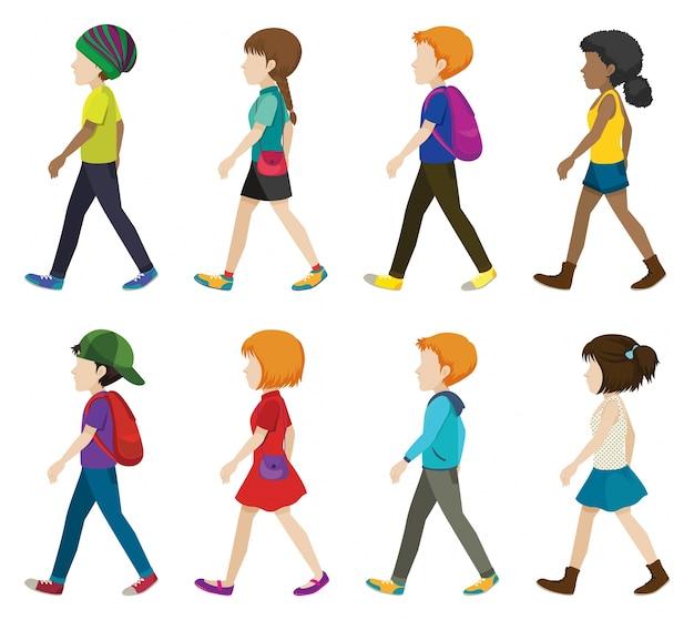 Enfants sans visage marchant sur un fond blanc Vecteur gratuit