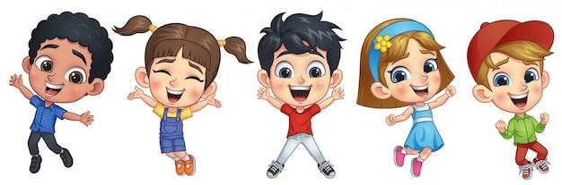 Enfants sautant heureux Vecteur Premium