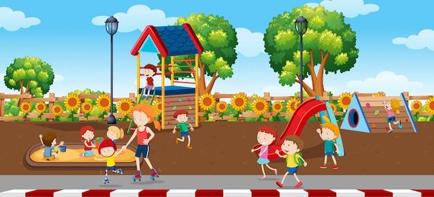 Enfants en scène plaground Vecteur Premium