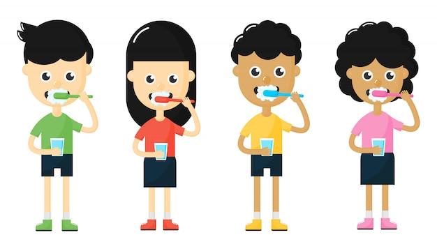 Enfants Se Brosser Les Dents Vecteur Premium