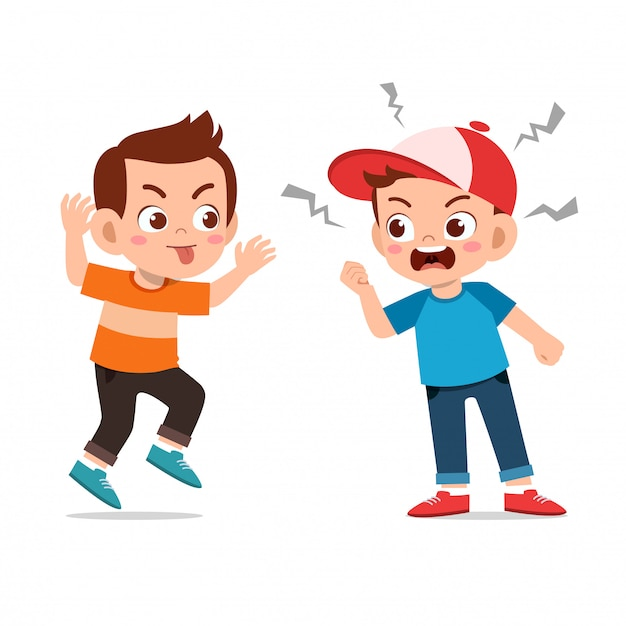 Les enfants se disputent avec un ami Vecteur Premium