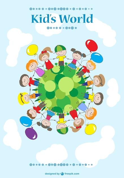Les enfants se tenant la main Vecteur gratuit
