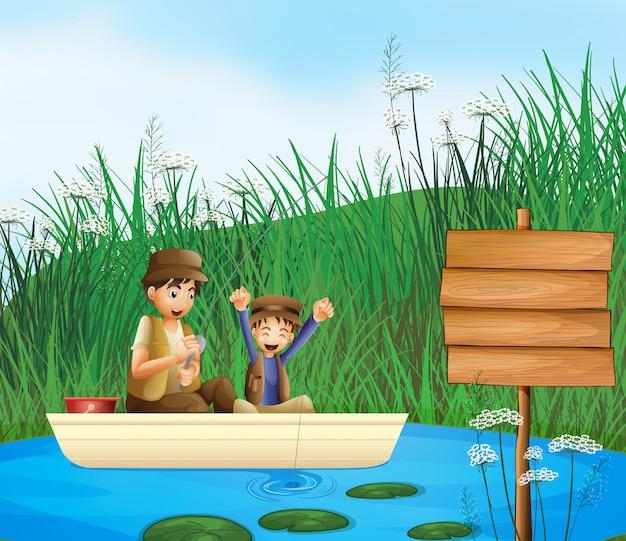 Enfants et un tableau d'affichage Vecteur gratuit