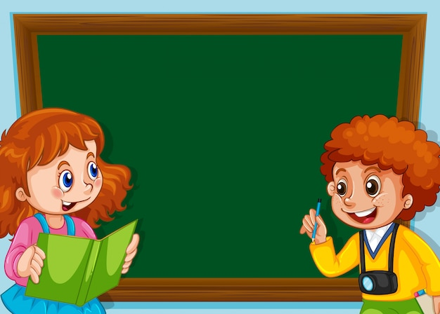 Enfants sur un tableau noir avec fond Vecteur gratuit