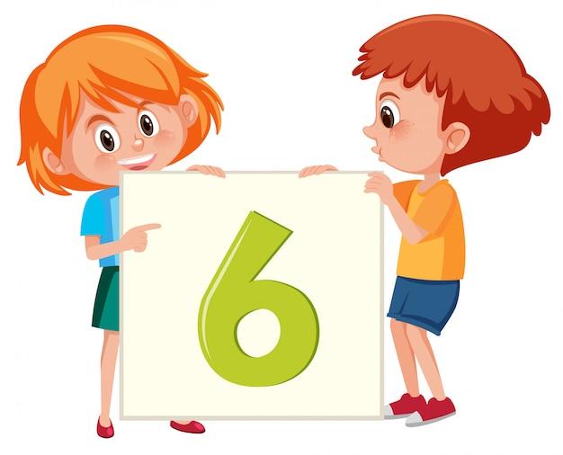 Enfants tenant la bannière numéro six Vecteur Premium