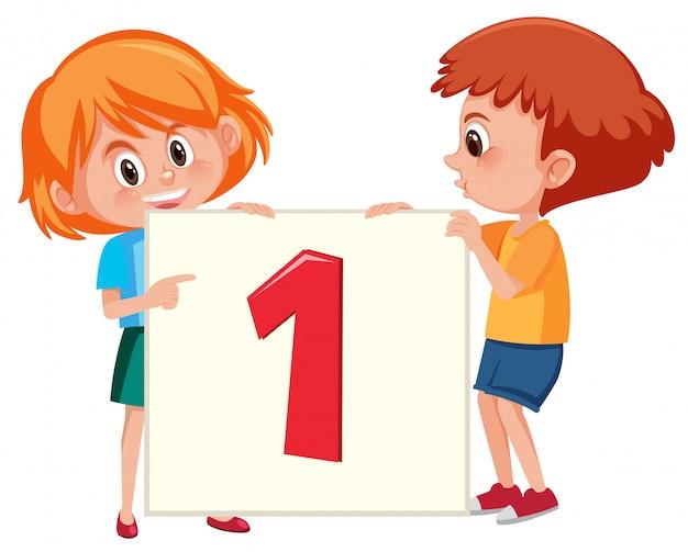 Enfants tenant la bannière numéro un Vecteur Premium