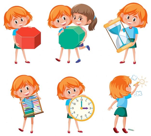 Enfants tenant des objets mathématiques Vecteur Premium