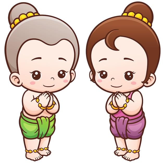 Enfants thaïlandais cartoon, sawasdee Vecteur Premium