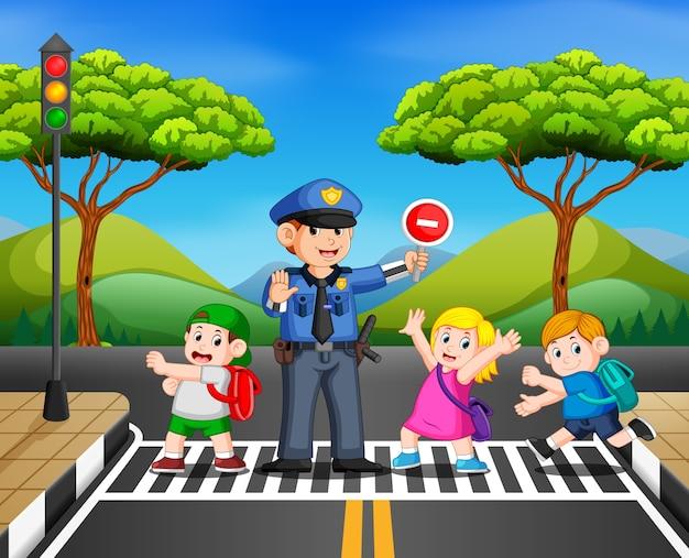 Les enfants traversent la route pendant que la police arrête le transport Vecteur Premium