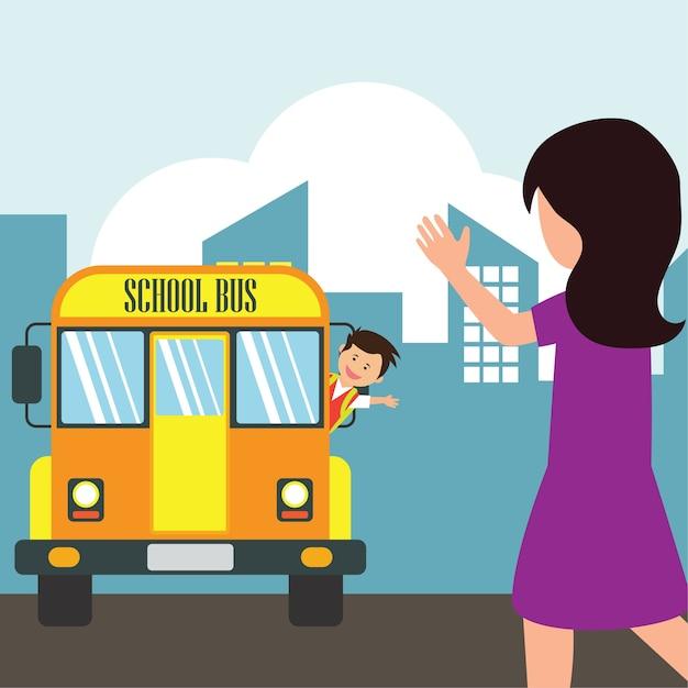 Enfants Avec Uniforme Aller à L'école Vecteur Premium