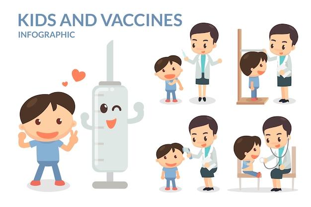 Enfants et vaccins Vecteur Premium