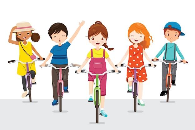 Enfants à Vélo Ensemble, Exercice Pour Une Bonne Santé Vecteur Premium