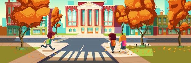 Les enfants vont à la bannière de l'école Vecteur gratuit