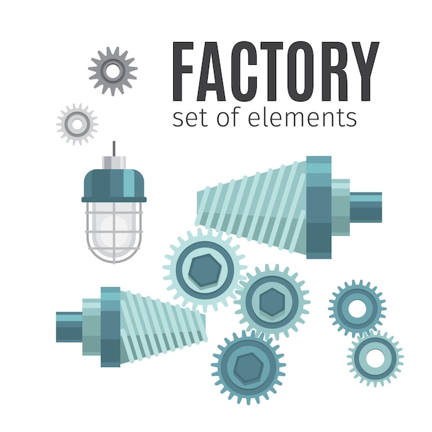 Engrenages mécaniques ensemble d'éléments Vecteur Premium