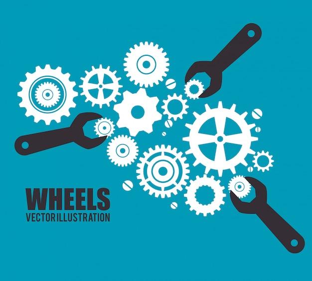 Engrenages, pignons ou roues Vecteur Premium
