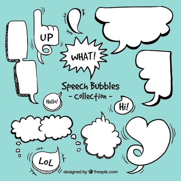 Enjoyable discours comique bulles réglé Vecteur gratuit