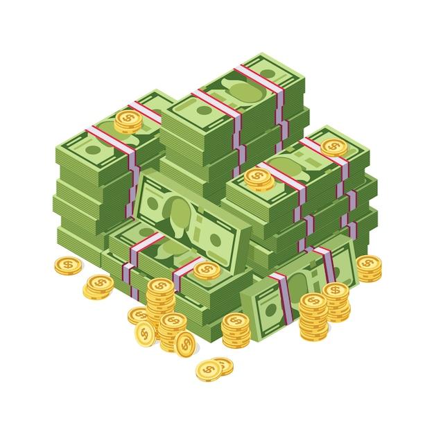 Énorme tas de dollars en argent et pièces d'or vector illustration. finance cash stack stack billet de banque et pièces d'or Vecteur Premium