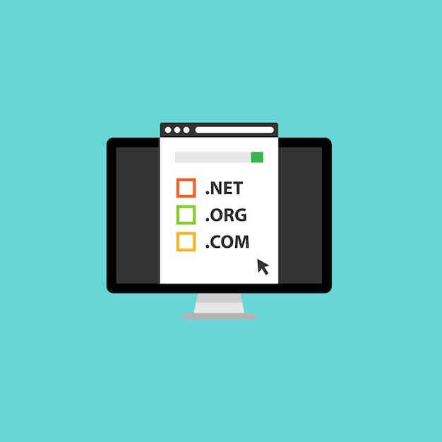 Enregistrement Et Concept De Nom De Domaine Vecteur Premium
