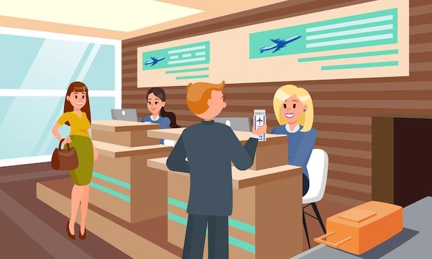 Enregistrement de vol dans airport flat illustration. Vecteur Premium