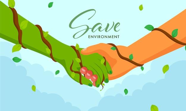 Enregistrer Le Concept D'environnement Avec Poignée De Main Entre L'homme Et La Main Verte Sur Fond Bleu. Vecteur Premium